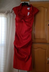 XScape Joanna Chen Red Dress Ruched Cocktail Dress